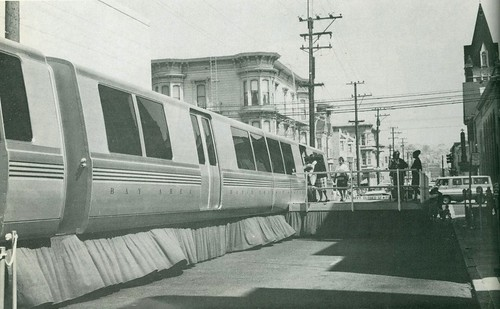 BART train car mockup on display at 23rd and Mission (1965) | by Eric Fischer