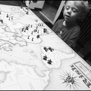 Might not be playing by the rules, and with a 3yr old, but it is RISK. #bestgameever | by gavoweb