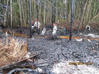 祕魯Wampis原住民族拍下漏油污染的狀況。圖片來源:Forest People Programme