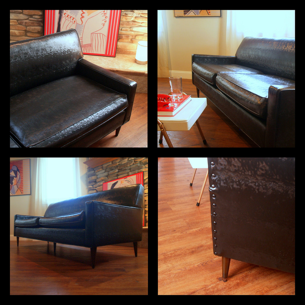 Vintage Midcentury Modern Sofa Fabulous Black Faux Leather
