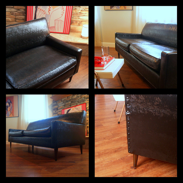 vintage midcentury modern sofa fabulous black faux leather retro flexsteel 1950 39 s living room. Black Bedroom Furniture Sets. Home Design Ideas