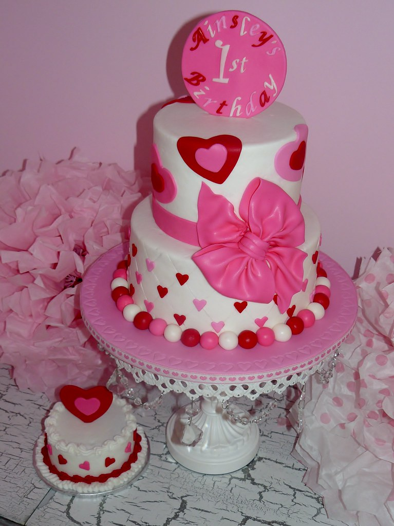 1st Birthday Cake Images For Girl : Heart Cake Heart cake with smash for a special little ...