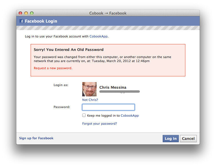 facebook sorry  you entered an old password chris password safe password keeper