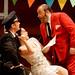 Ludovic Tézier as Belcore, Paolo Gavanelli as Dulcamara and Aleksandra Kursak as Adina in L'Elisir d'amore. ©ROH/Catherine Ashmore 2007