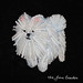 WHITE POMERANIAN.  Beaded dog pin/ pendant.