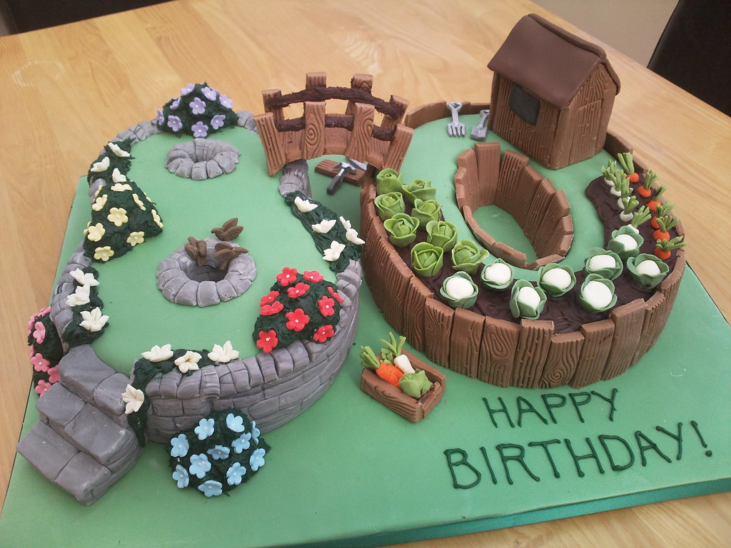 80th birthday garden cake flo 39 s cakes flickr for Gardening 80th birthday cake