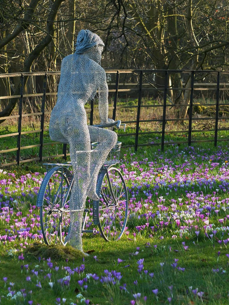 Derek kinzett wire sculpture the lady the bicycle comm for Chicken wire sculptures uk