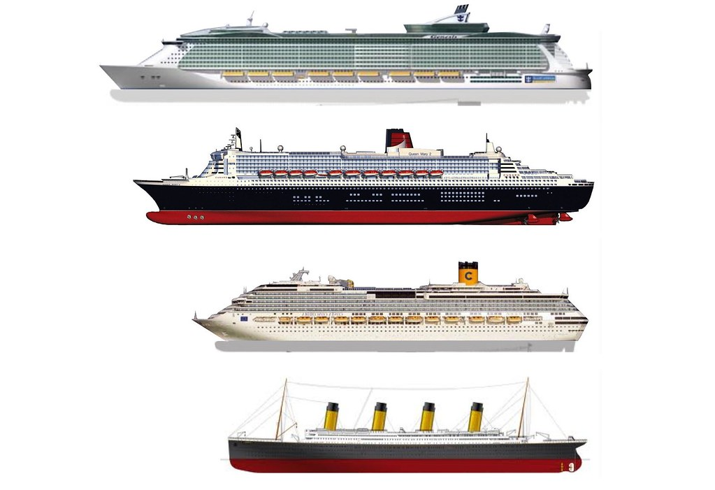 Oasis Of the Seas, Queen Mary II, Costa Concordia and Tita ... Oasis Of The Seas Comparison
