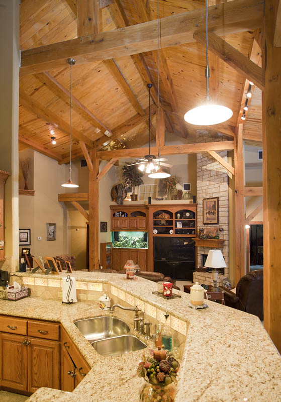 Full timber frame home full timber frame home from texas for Timber frame kitchen