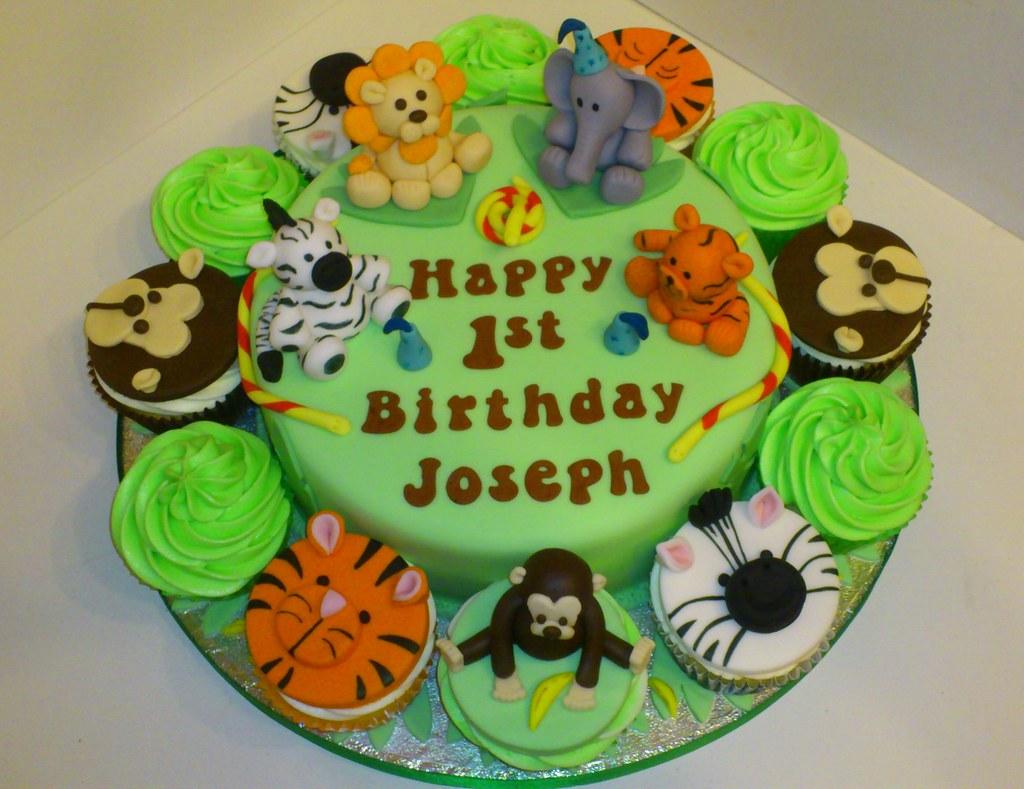 Jungle Theme 1st Birthday Cake  Liz  Flickr