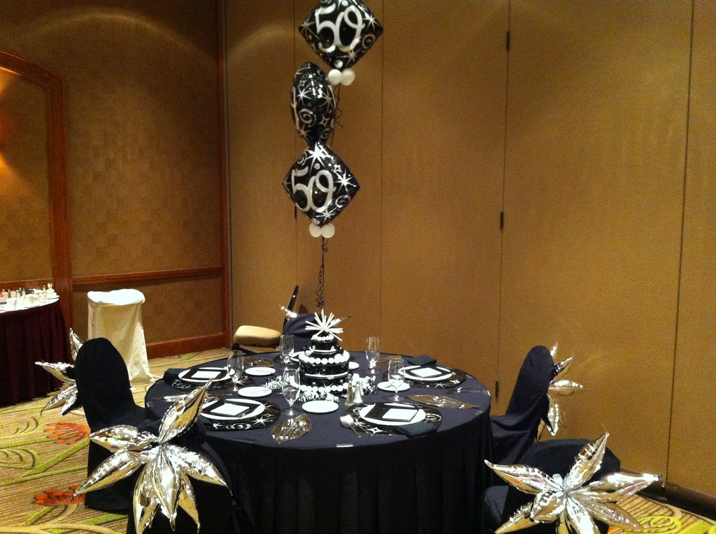 Silver black 50th birthday party decor the best balloons - Black silver and white party decorations ...
