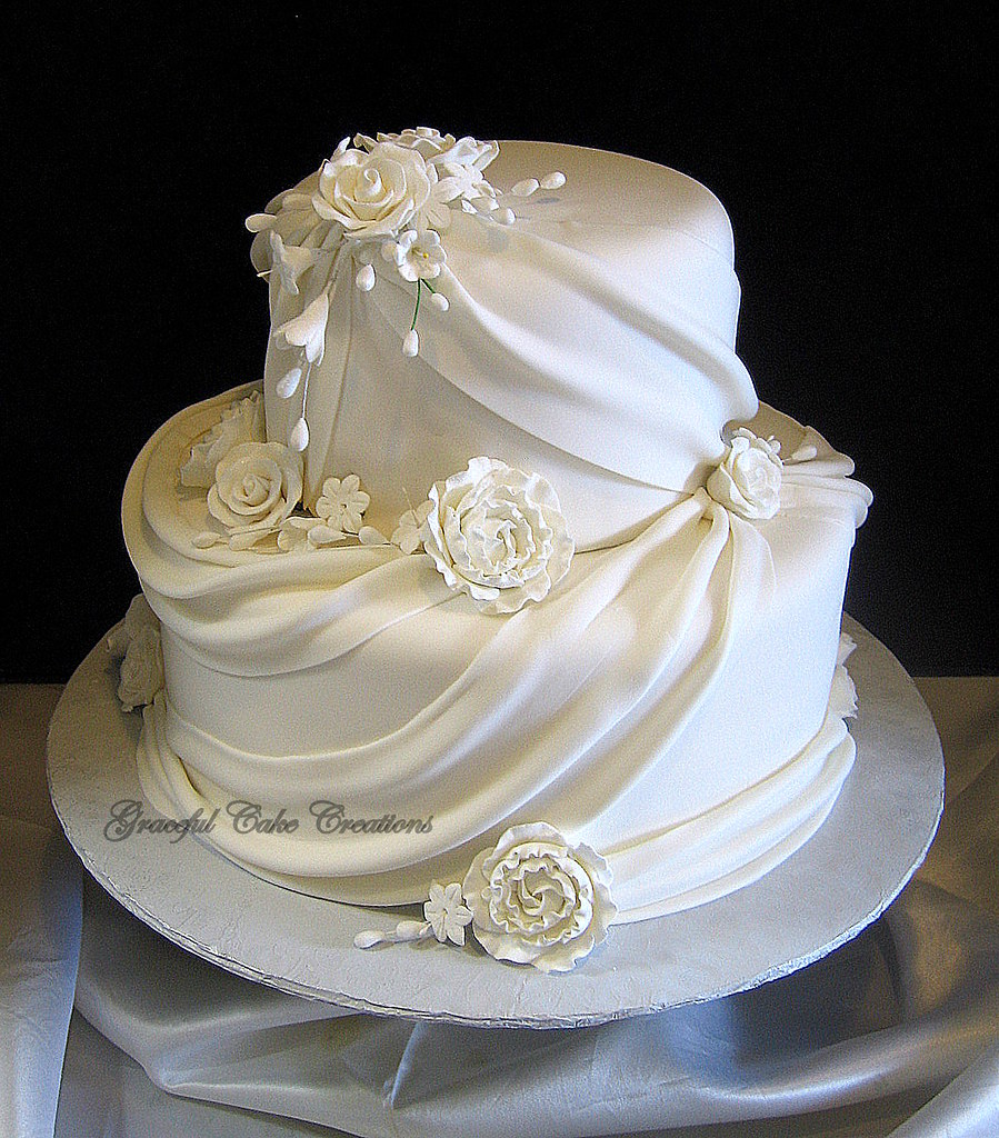 Wedding Cake With Black Bow Icing