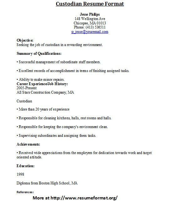 Custodian Resume Format | For More Custodian Resume Format V… | Flickr