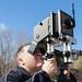 John Nolan sets up the Sinar view camera