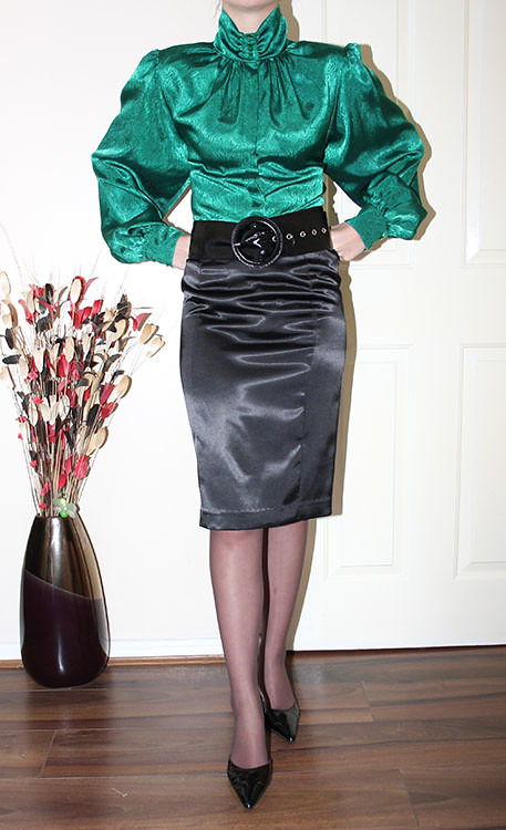 Emerald Green Satin Puff Sleeve Blouse For Sale