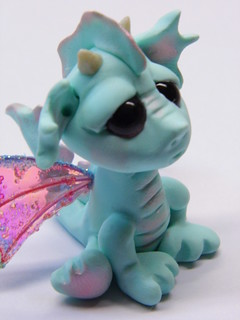 "OOAK Handmade Polymer Clay Baby Dragon ""Rainee"" Fantasy Art Doll 