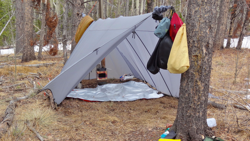 That is what I did and I could not be happier. This is a 12u0027RLx14u0027 sylnylon tarp with doors no catcuts and Iu0027ve added custom Al supports for snow loads in ... & in-tent hammock?
