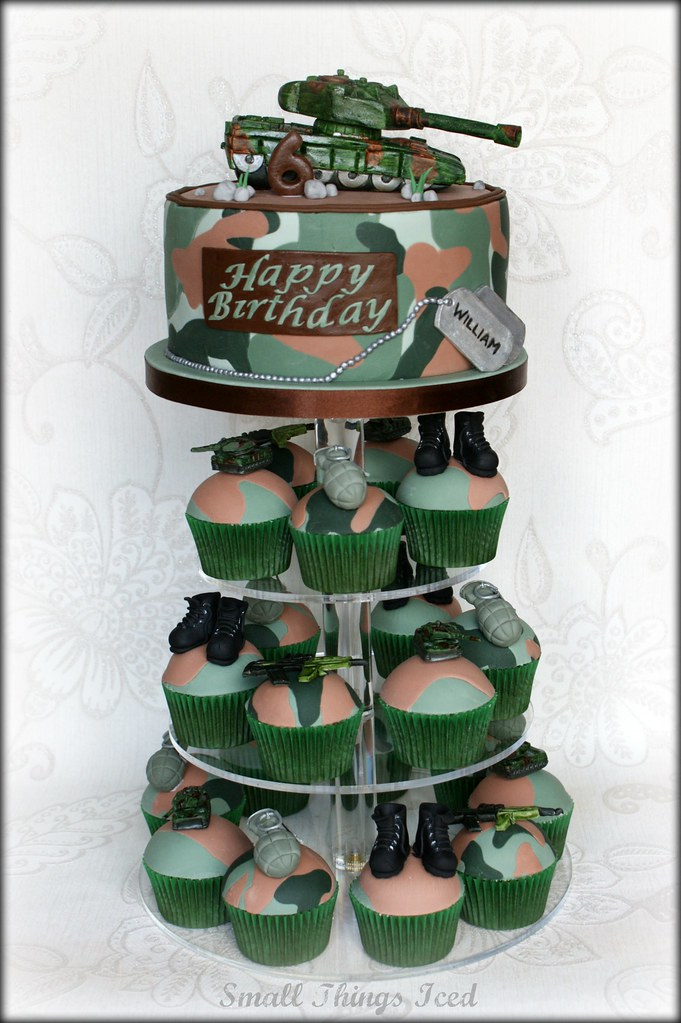 Army Cupcake Tower An Army Theme Birthday Cake For A 6