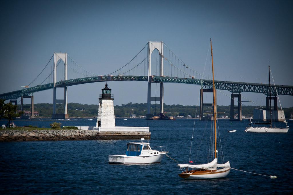 Claiborne Pell Bridge Lighthouse And Sailboats Newport
