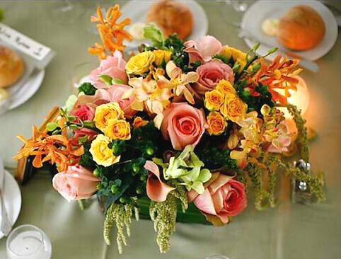 Short Centerpiece Pink Peach Orange Yellow And Lime Gre