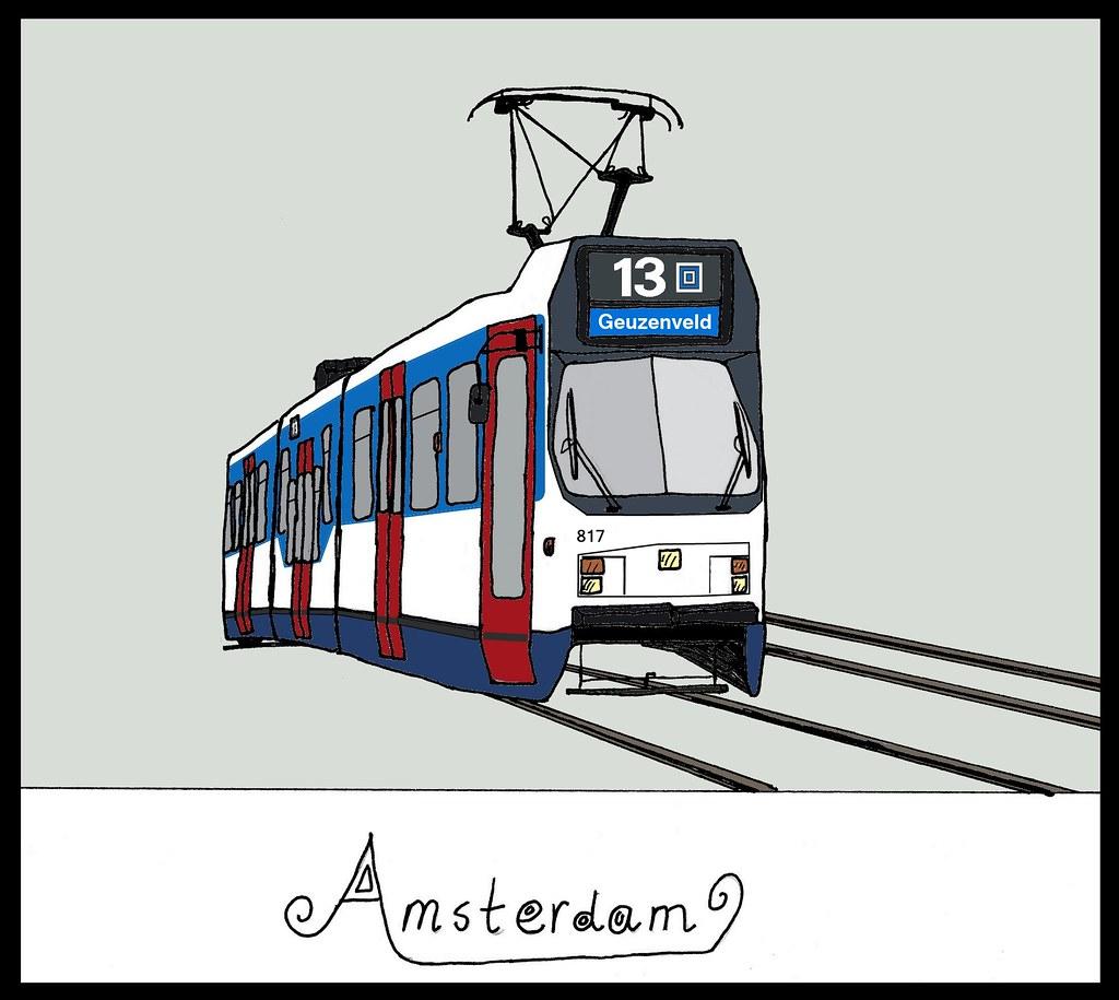 Tekening Van De Amsterdamse Tram Een Van Mijn Oude