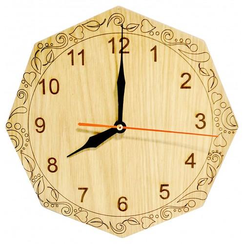Đồng hồ gỗ bát giác - hoa văn số