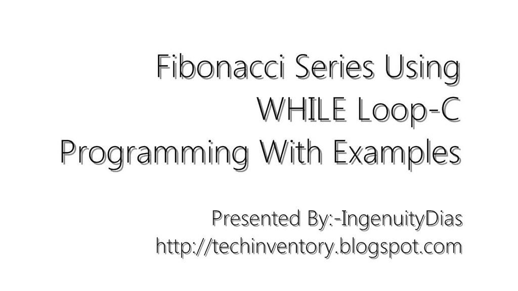 Fibonacci Series Program in C++
