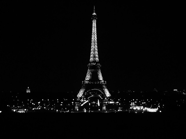 Eiffel Tower At Night - Black And White Version | Flickr ...