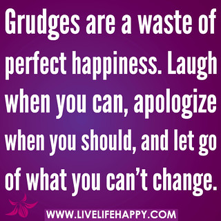 Grudges are a waste of perfect happiness. Laugh when you can, apologize when you should, and let go of what you can't change. | by deeplifequotes