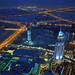 Hotel The Address and Dubai Mall by night.