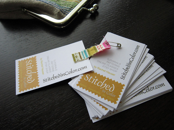 Business cards tags blogged at stitched in color for Price tags for craft shows
