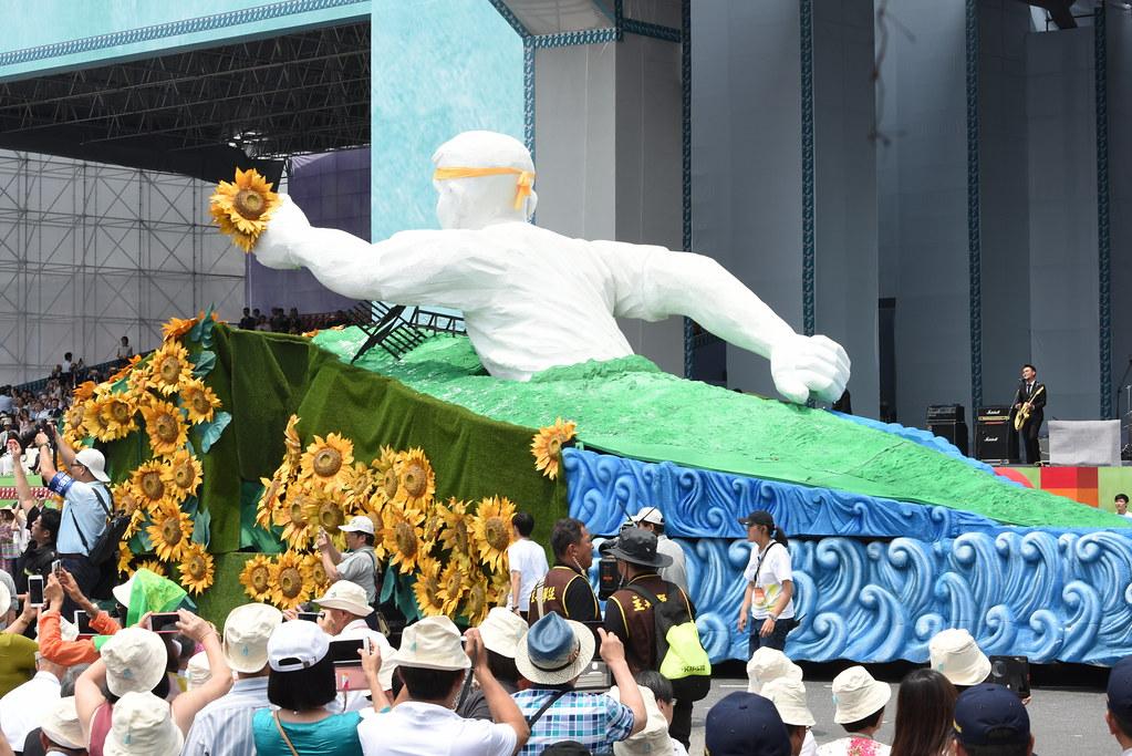 蔡英文總統就職典禮節目呈現部份抗爭事件。(攝影:宋小海)