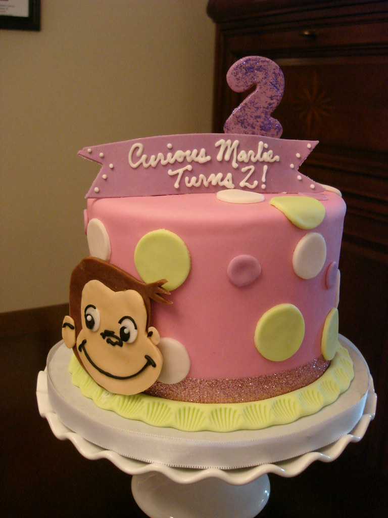 Pink curious george birthday cake you can see more for Monkey birthday cake template