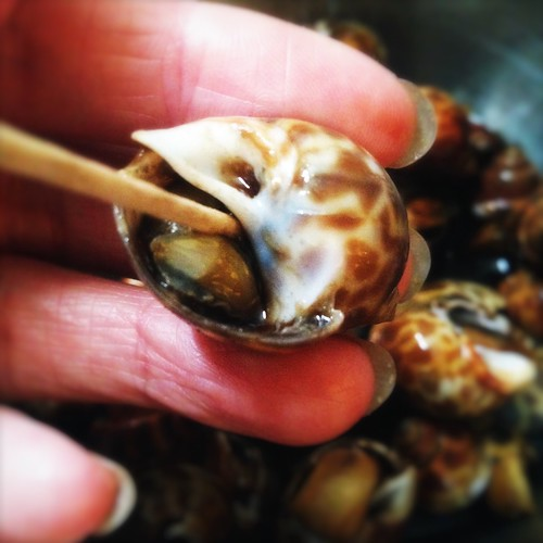 shellfish, Sea Snail, whelk, conch, Simmer, Sake, Soy Sauce,  清酒, 鼓油, 煮, 花螺, recipe, chilled, seafood, chinese