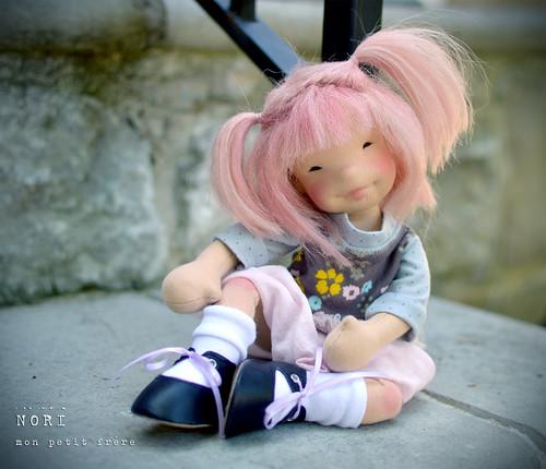 "Nori- 11.5"" natural fiber art doll"