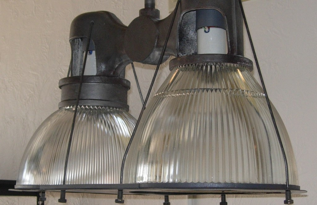 VINTAGE HOLOPHANE DOUBLE OFFSET LOWBAY PENDANT LIGHT USED Flickr