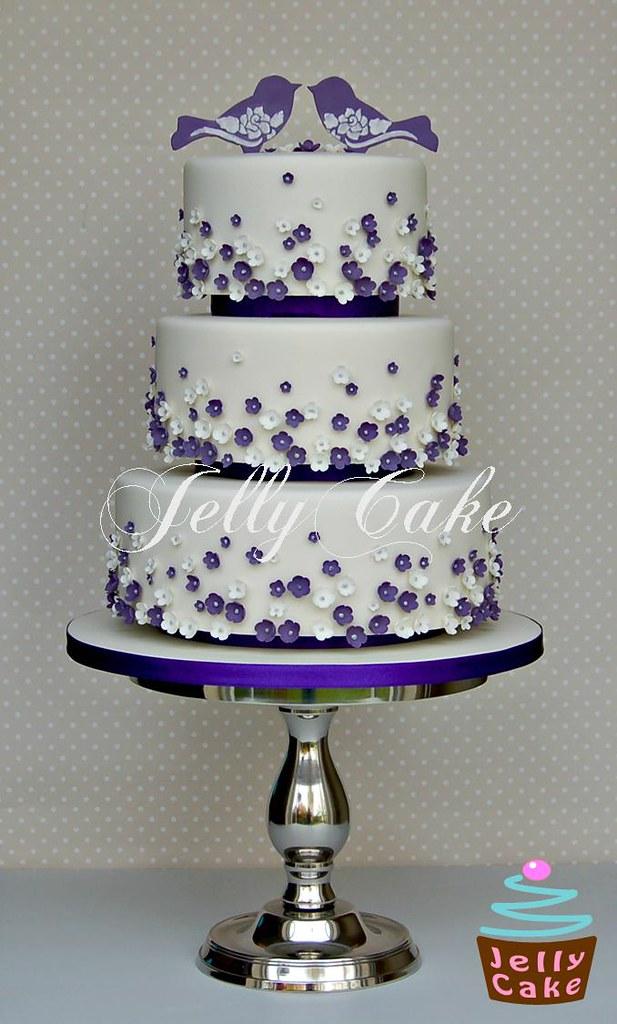 Purple Birds And Blossoms Wedding Cake