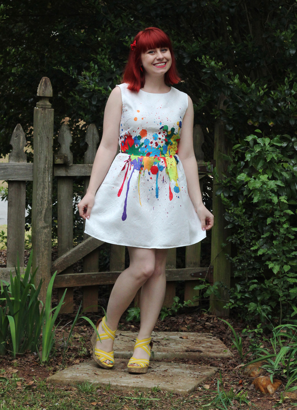 White Dress with Multicolored Graffiti Paint Splatter and Yellow Wedges