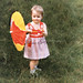 Vintage 1950s Little Girl with Umbrella