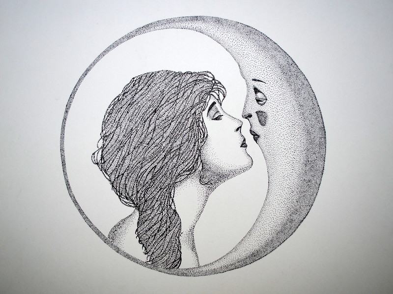 Girl Kissing The Moon Girl Kissing Moon Micron on
