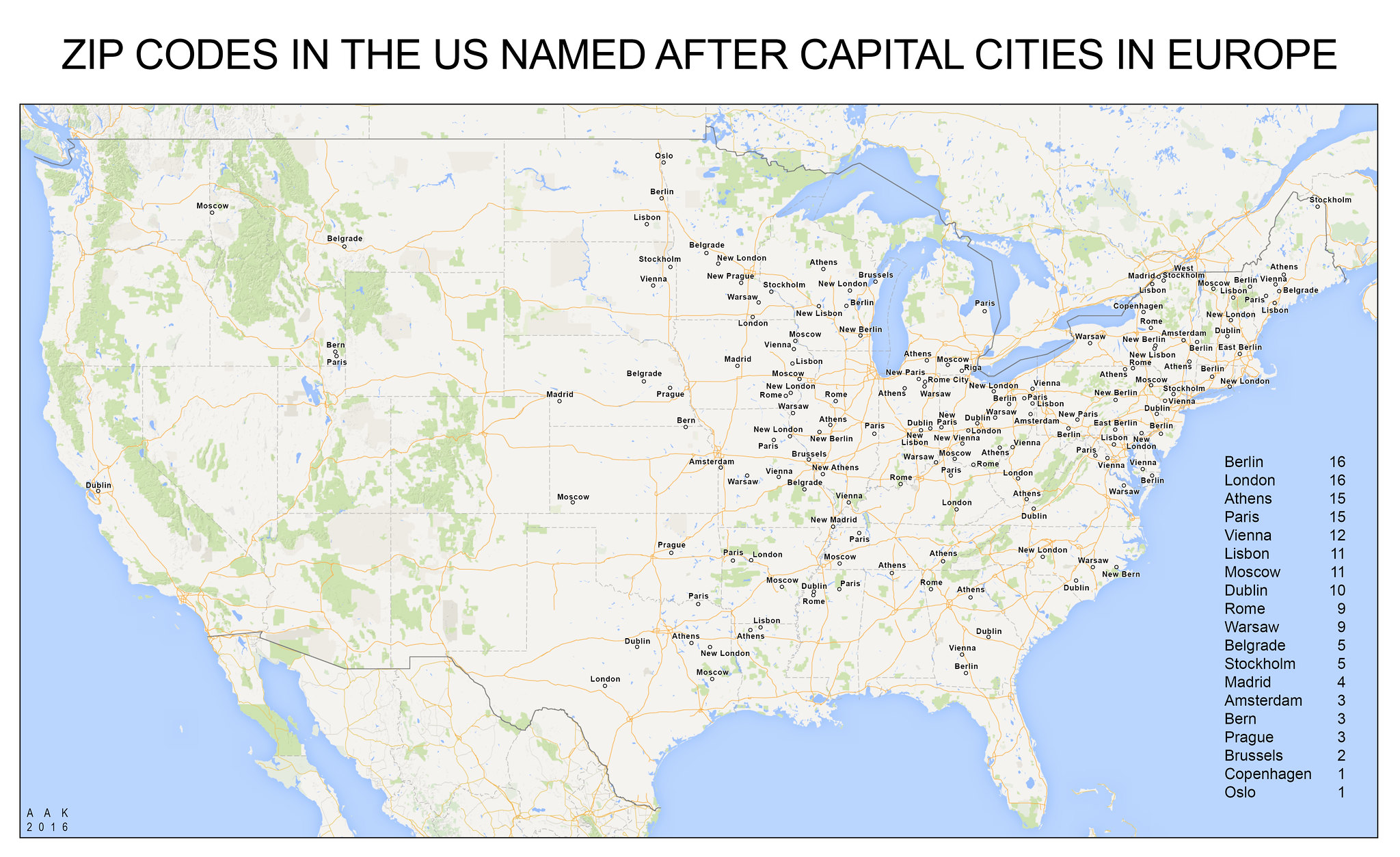 OC Places In The US Named After Capital Cities In Europe X - Capital cities on map of us