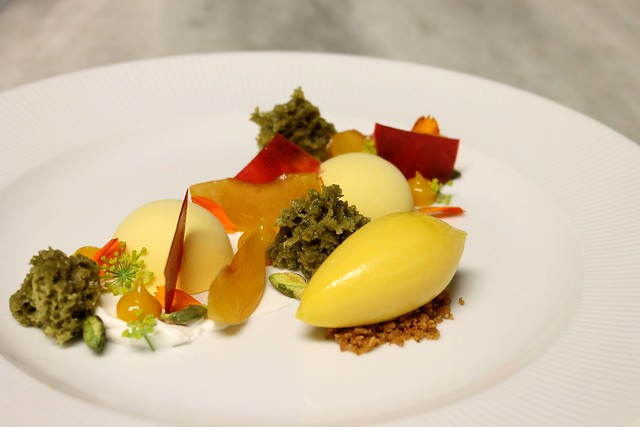 Peach semifreddo, pistachio microwave sponge cake, cherry glass ...