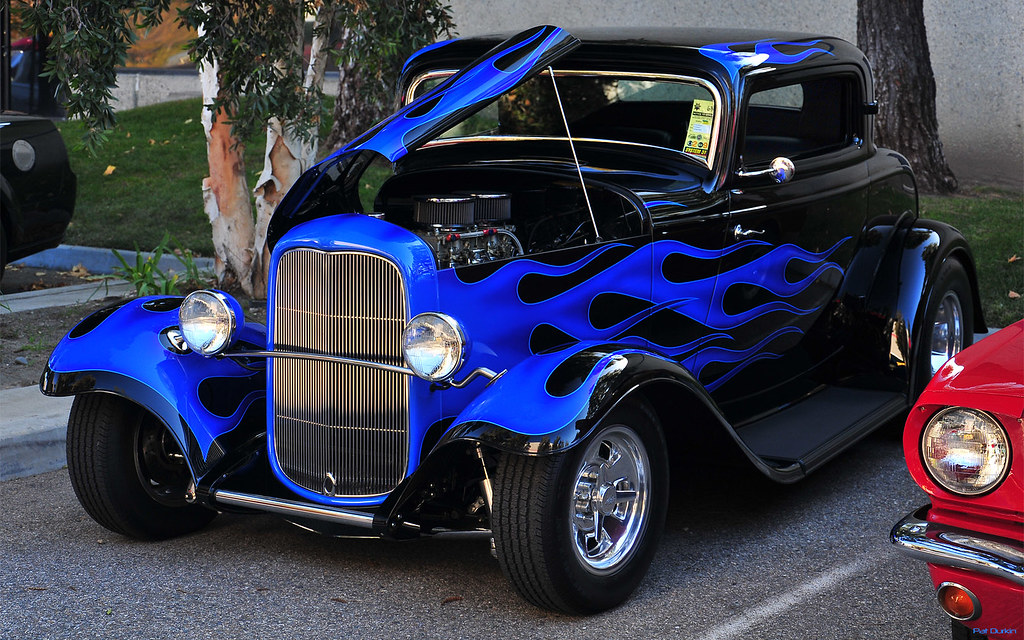 1932 ford 3 window coupe hotrod blue black fvl for 1932 ford 3 window coupe hot rod