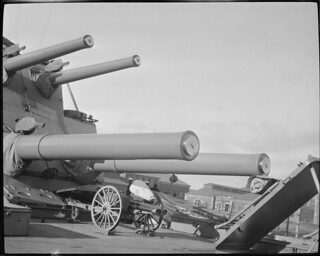Big guns on Navy ship, Navy Yard | by Boston Public Library