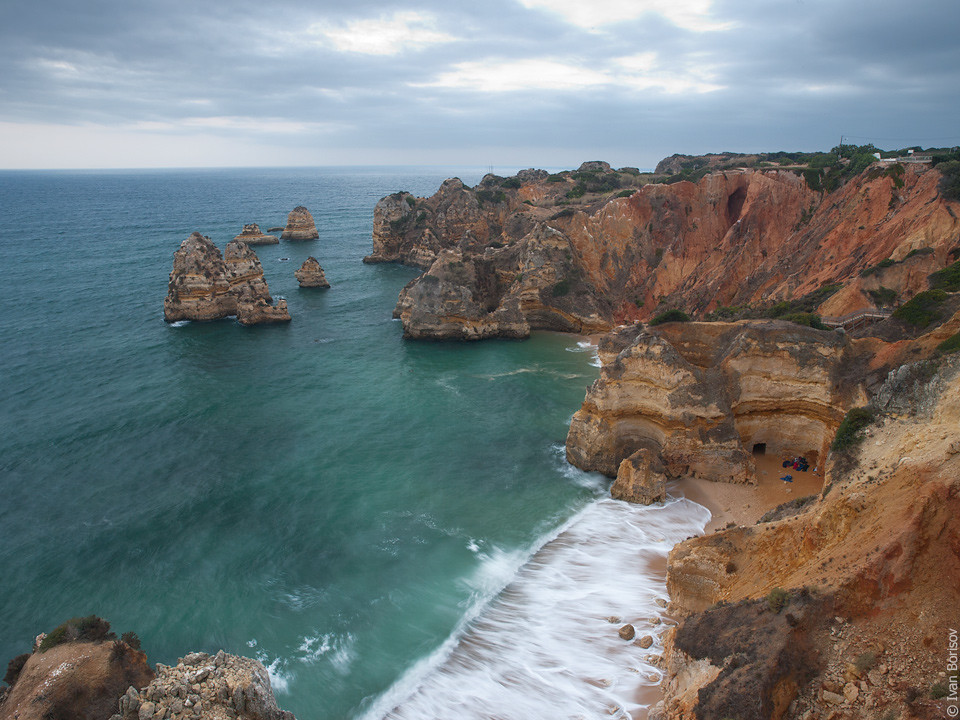 Cloudy sunrise on Atlantic coast in Lagos, Portugal