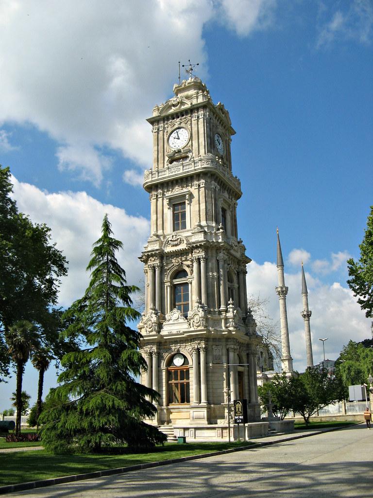 Dolmabahçe Clock Tower in Istanbul, Turkey  Dolmabahçe ...