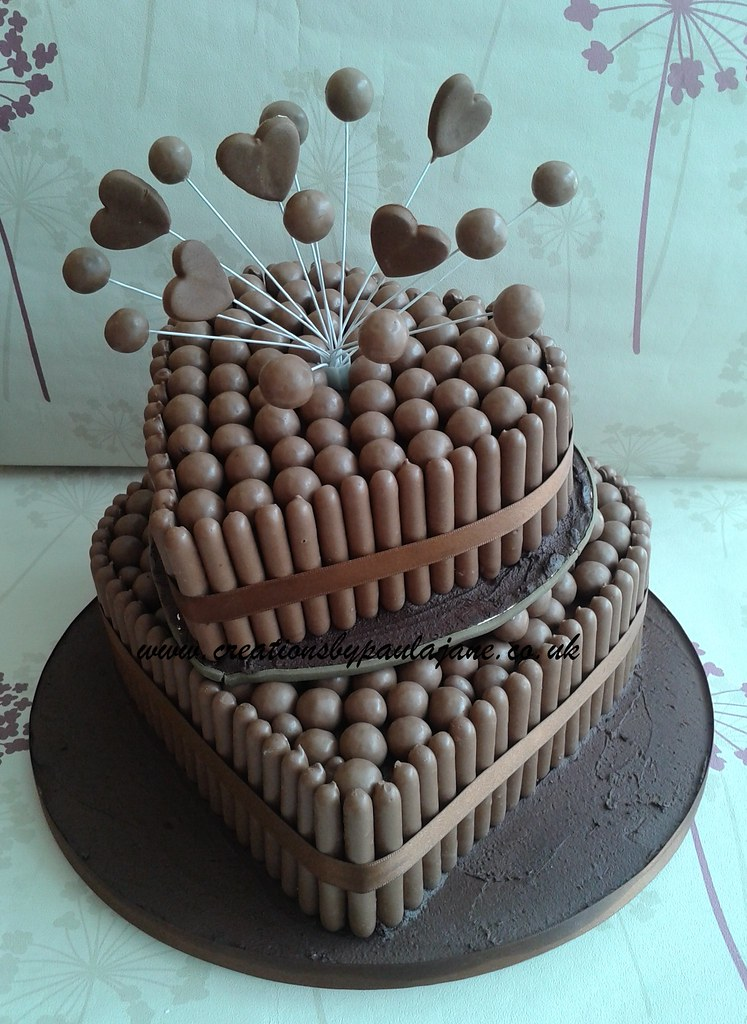 Heart Malteser Wedding Cake www.creationsbypaulajane.co ...