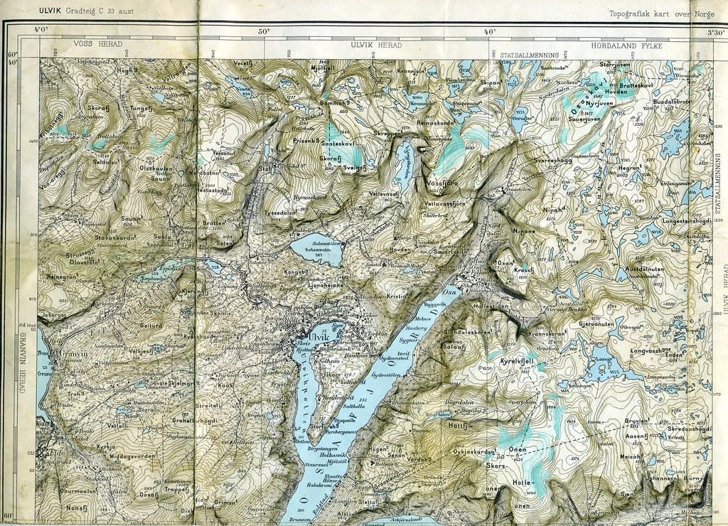 Map Osafjord Ulvik Granvin Norway Printed Flickr - Ulvik norway map