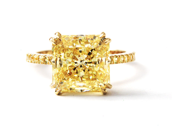 Square Yellow Diamond Engagement Ring
