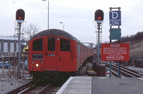 London Transport . Bakerloo Line . 1938 Tube Stock 10255 . Stanmore Station , London . 01st-March-1979 .